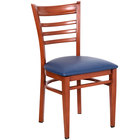 Lancaster Table & Seating Spartan Series Metal Ladder Back Chair with Mahogany Wood Grain Finish and Navy Vinyl Seat