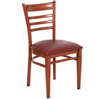 Lancaster Table & Seating Spartan Series Metal Ladder Back Chair with Mahogany Wood Grain Finish and Burgundy Vinyl Seat