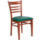 Lancaster Table & Seating Spartan Series Metal Ladder Back Chair with Mahogany Wood Grain Finish and Green Vinyl Seat