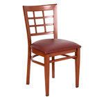 Lancaster Table & Seating Spartan Series Metal Window Back Chair with Mahogany Wood Grain Finish and Burgundy Vinyl Seat