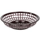 Brown 8 inch Round Plastic Fast Food Basket - 12/Case