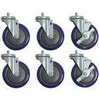 Advance Tabco TA-255AP 5 inch Heavy-Duty Swivel Stem Casters for Enclosed Base Tables - 6/Set