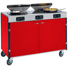 Lakeside 2085 Creation Express Mobile Cooking Cart with 3 Induction Burners, 2 Filtration Units, and Red Laminate Finish - 22 inch x 48 inch x 40 1/2 inch