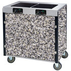 Lakeside 2070 Creation Express Mobile Cooking Cart with 2 Induction Burners, No Exhaust Filtration, and Gray Sand Laminate Finish - 22 inch x 34 inch x 35 1/2 inch
