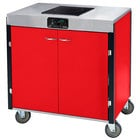 Lakeside 2060 Creation Express Mobile Cooking Cart with 1 Induction Burner, No Exhaust Filtration, and Red Laminate Finish - 22 inch x 34 inch x 35 1/2 inch