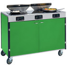 Lakeside 2085 Creation Express Mobile Cooking Cart with 3 Induction Burners, 2 Filtration Units, and Green Laminate Finish - 22 inch x 48 inch x 40 1/2 inch