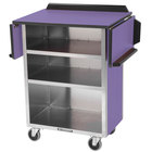 Lakeside 672 Stainless Steel Drop-Leaf Beverage Service Cart with 3 Shelves and Purple Laminate Finish - 33 1/8 inch x 21 inch x 38 1/4 inch