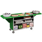 Lakeside 676 Stainless Steel Drop-Leaf Beverage Service Cart with 3 Shelves and Green Laminate Finish - 61 3/4