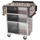 Lakeside 672 Stainless Steel Drop-Leaf Beverage Service Cart with 3 Shelves and Gray Sand Laminate Finish - 33 1/8 inch x 21 inch x 38 1/4 inch