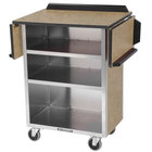 Lakeside 672 Stainless Steel Drop-Leaf Beverage Service Cart with 3 Shelves and Beige Suede Laminate Finish - 33 1/8 inch x 21 inch x 38 1/4 inch