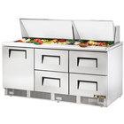 True TFP-72-30M-D-4 72 inch 1 Door 4 Drawer Mega Top Refrigerated Sandwich Prep Table