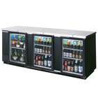 Beverage-Air BB94G-1-B-PT-LED 95 inch Black Glass Door Pass-Through Back Bar Refrigerator with 2 inch Stainless Steel Top