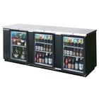 Beverage-Air BB72GSY-1-B-PT-LED 72 inch Black Glass Door Pass-Through Back Bar Refrigerator