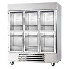 Beverage-Air FB72-5HG 75 inch Vista Series Three Section Glass Half Door Reach-In Freezer - 72 cu. ft.
