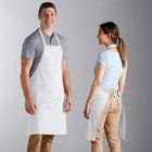 Choice White Poly-Cotton Bib Apron with 2 Pockets - 34 inchL x 30 inchW
