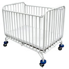 L.A. Baby Holiday Crib 30 inch x 53 inch Metal Folding Crib with 3 inch Extra Wide Casters