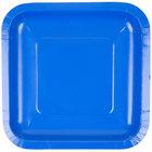Creative Converting 453147 7 inch Cobalt Blue Square Paper Plate - 180/Case