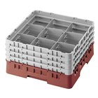 "Cambro 9S638416 Cranberry Camrack Customizable 9 Compartment 6 7/8"" Glass Rack"