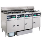 Pitco SELV14C-4/FDP Solstice 120 lb. Reduced Oil Volume / High Output 4 Unit Electric Fryer System with Intellifry Computer Controls and Push Button Top Off - 208V, 1 Phase, 68 kW