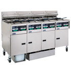 Pitco SELV14C2/14T2FDA Solstice 120 lb. Reduced Oil Volume Electric Fryer System with 2 Split Pot Units, 2 Full Pot Units, and Automatic Top Off - 240V, 3 Phase, 68 kW