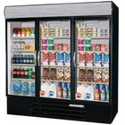 Beverage-Air MMF72-5-B-EL-LED MarketMax 75 inch Black Three Section Glass Door Merchandiser Freezer with Electronic Lock - 72 cu. ft.
