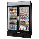 Beverage-Air MMR49-1-B-EL-LED MarketMax 52 inch Black Two Section Glass Door Merchandiser Refrigerator with Electronic Lock - 49 cu. ft.