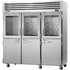 Turbo Air PRO-77R-GSH 78 inch Premiere Pro Series Three Section Reach-In Refrigerator with Solid and Glass Half Doors - 78 Cu. Ft.