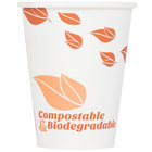 EcoChoice 12 oz. White Compostable and Biodegradable Paper Hot Cup with Leaf Design - 1000/Case