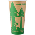 EcoChoice 20 oz. Kraft Compostable and Biodegradable Paper Hot Cup with Tree Design - 600/Case