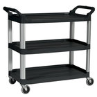 Rubbermaid FG409100BLA Black Three Shelf Utility Cart / Bus Cart 40