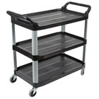 Rubbermaid FG409100BLA Xtra Black 300 lb. Three Shelf Utility Cart / Bus Cart 40 inch x 20 inch x 37 inch