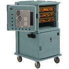 Cambro UPCH1600401 Slate Blue Ultra Camcart Two Compartment Heated Holding Pan Carrier with Casters, Both Compartments Heated - 110V