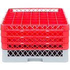 Noble Products 49-Compartment Gray Full-Size Glass Rack with 4 Red Extenders - 19 3/8 inch x 19 3/8 inch x 10 1/2 inch