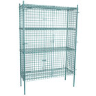Regency NSF Stationary Green Wire Security Cage Kit - 18 inch x 48 inch x 74 inch