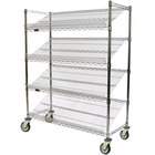 Eagle Group M1824C-4 24 inch x 18 inch Chrome 4 Shelf Angled Merchandising Cart
