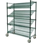 Eagle Group M1860VG-4 60 inch x 18 inch Valu-Gard Green 4 Shelf Angled Merchandising Cart