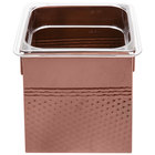 1/6 Size Copper Square Hammered Ice Display / Beverage Tub with Clear Food Pan - 3.375 Qt.