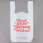 1/6 Size .71 Mil White Thank You Heavy-Duty Plastic T-Shirt Bag   - 600/Case