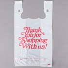 1/5 Size .67 Mil White Thank You Heavy-Duty Plastic T-Shirt Bag   - 500/Case