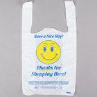 1/8 Size .51 Mil White Happy Face Plastic T-Shirt Bag   - 1000/Case