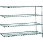 Metro AN376K3 Super Erecta Metroseal 3 Adjustable Wire Stationary Add-On Shelving Unit - 18 inch x 72 inch x 63 inch