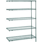 Metro 5AN417K3 Super Erecta Metroseal 3 Adjustable Wire Stationary Add-On Shelving Unit - 21 inch x 24 inch x 74 inch