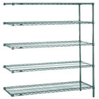 Metro 5AN567K3 Super Erecta Metroseal 3 Adjustable Wire Stationary Add-On Shelving Unit - 24 inch x 60 inch x 74 inch