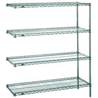 Metro AN526K3 Super Erecta Metroseal 3 Adjustable Wire Stationary Add-On Shelving Unit - 24 inch x 30 inch x 63 inch