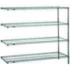 Metro AN566K3 Super Erecta Metroseal 3 Adjustable Wire Stationary Add-On Shelving Unit - 24 inch x 60 inch x 63 inch