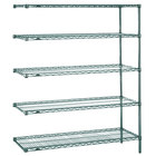 Metro 5AN457K3 Super Erecta Metroseal 3 Adjustable Wire Stationary Add-On Shelving Unit - 21 inch x 48 inch x 74 inch