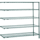 Metro 5AN377K3 Super Erecta Metroseal 3 Adjustable Wire Stationary Add-On Shelving Unit - 18 inch x 72 inch x 74 inch