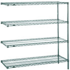 Metro AN446K3 Super Erecta Metroseal 3 Adjustable Wire Stationary Add-On Shelving Unit - 21 inch x 42 inch x 63 inch