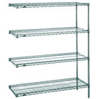 Metro AN516K3 Super Erecta Metroseal 3 Adjustable Wire Stationary Add-On Shelving Unit - 24 inch x 24 inch x 63 inch