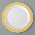 Gold Visions 9 inch White Plastic Plate with Gold Lattice Design - 12/Pack